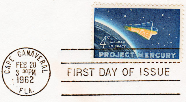 """Project Mercury"" (US Man in Space) 4¢ US Postage Stamp (Scott 1139) w/First Day of Issue CDS FEB 20, 1962 3:30 PM Capr Canaveral, FL (Issued on the day of John Glenn's first manned orbital flight in Friendship 7. The Cooper Collection of US Aviation History"